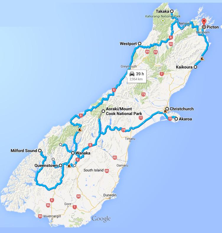 Notre itinéraire sur l'ile du sud